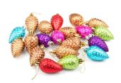 Christmas decoration cones on white background — Стоковое фото