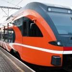 Modern European train at railway station — Stock Photo #62098867