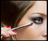 Beauty makeup for blue eyes. — Stock Photo