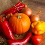Fresh autumn vegetables lie on sacking — Stock Photo #58769485