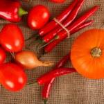 Fresh autumn vegetables lie on sacking — Stock Photo #58769531