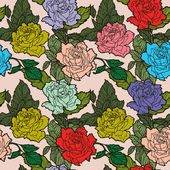 Elegance Seamless pattern with flowers roses — Stock Vector