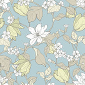 Seamless pattern with flowers magnolia and tulips — Stok Vektör