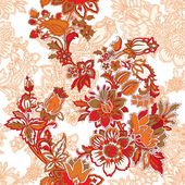 Seamless pattern with ornament, vector floral illustration — 图库矢量图片