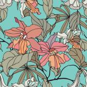 Seamless pattern with flowers orchid — Stock Vector