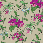 Seamless pattern with flowers orchid — Stockvektor