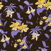 Seamless pattern with flowers orchid — Stok Vektör