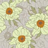 Modello senza cuciture con i fiori Papaveri e margherite, floreale di vettore — Vettoriale Stock