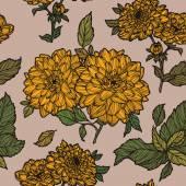Seamless garden flowers  pattern — Stok Vektör
