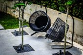 Sun chairs in Garden — Stock Photo