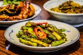 Tempoyak Asparagus  Asparagus stir-fried with fermented durian — Stock Photo