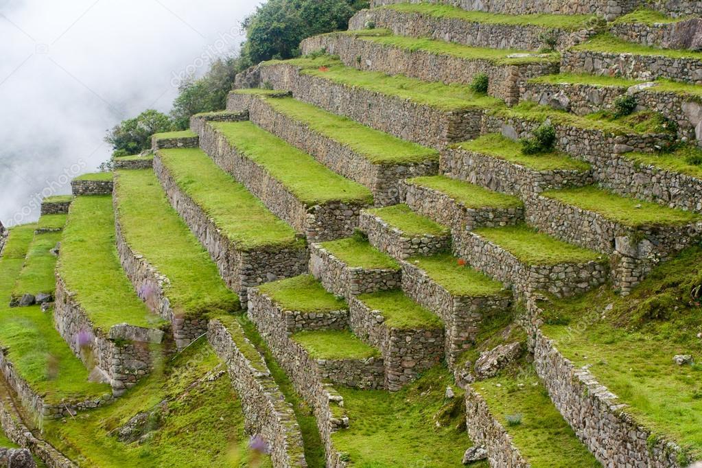 terrazas agr colas en laderas de machu picchu fotos de