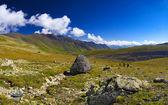Touristes dans la vallée de montagne — Photo
