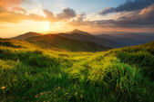 Mountain hill during sundown — Stock Photo