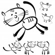 Cats and mouse isolated on a white background — Stock Vector #52892713