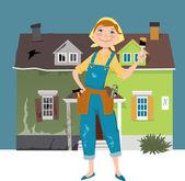 Bir evi flipping — Stok Vektör
