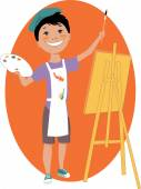 Little boy painting with an easel — Stock vektor
