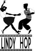 Lindy hop silhouette — Stock Vector