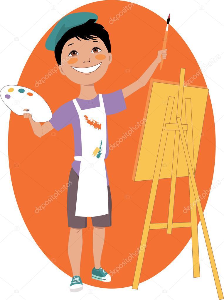 Ragazzo piccolo dipinto con un cavalletto — vettoriali