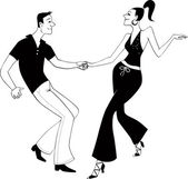 West Coast Swing dancers clip art — Stock Vector
