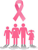 Breast cancer survival family support — Stock Vector