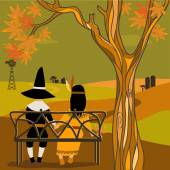 Kids in Thanksgiving costumes sitting under a tree — Stock Vector