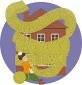 Woman knitting a scarf for a house keeping it warm — Stock Vector