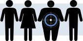 Diabetes targets overweight people — Stock Vector