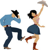 Country western dancers — Stock Vector