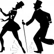 Tap dancers in top hats silhouette — Stock Vector #67358835
