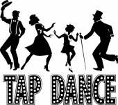 Tap dance silhouette banner — Stok Vektör