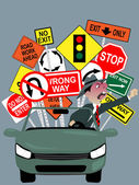 Enraged driver on the road — Stock Vector