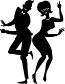 The twist couple silhouette — Vector de stock
