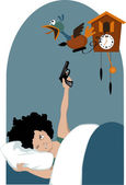 Tired woman and a cuckoo clock — Stock Vector