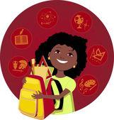 Latina kız okula gidiyor — Stok Vektör