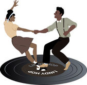 Dancing on a record — Stock Vector