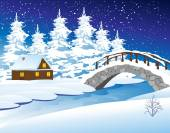 Winter landscape with cottage — Stock Vector
