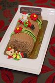 Chrismas Log cake  — Stock Photo
