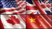 Flags XL. USA, England, Canada and Chin — Stock Photo