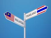 Thailand Malaysia  Sign Flags Concept — Stockfoto