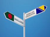 Bosnia and Herzegovina  Bangladesh Sign Flags Concept — Stock fotografie