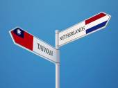 Taiwan Netherlands  Sign Flags Concept — Stockfoto