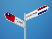Taiwan Netherlands  Sign Flags Concept — Stok fotoğraf
