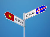 Iceland Vietnam  Sign Flags Concept — Stock Photo