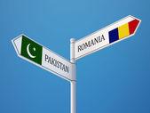 Romania Pakistan  Sign Flags Concept — Stock Photo