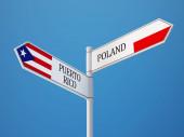 Poland Puerto Rico  Sign Flags Concept — Stockfoto