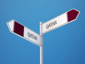 Qatar  Sign Flags Concept — Stock Photo