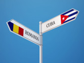 Romania Cuba  Sign Flags Concept — Stock Photo