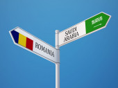 Saudi Arabia Romania  Sign Flags Concept — Stock Photo