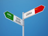 Saudi Arabia China  Sign Flags Concept — Stock Photo